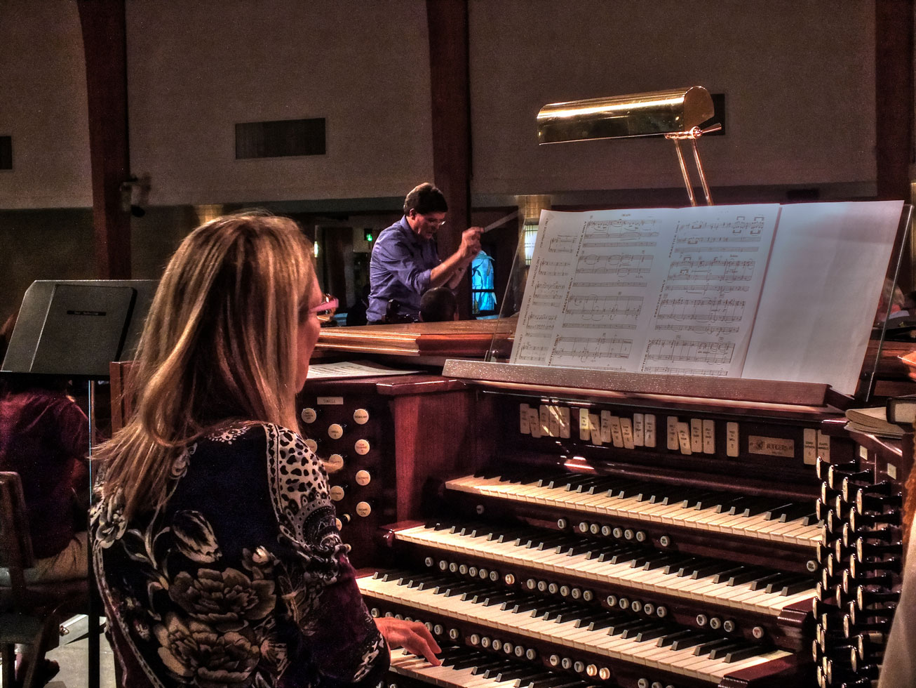 Linda van Niekerk practices with the strings on the Adagio in G minor, at Forest Lake Church on Oct. 5