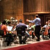 The October 12 orchestra rehearses Adagio in G Minor at the Forest Lake Academy music department. Leon Hauck directing.